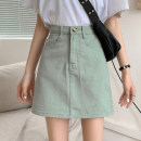 skirt Summer 2021 S,M,L Mint Milk Green Short skirt commute High waist A-line skirt Solid color Type A 18-24 years old 30% and below other other Korean version