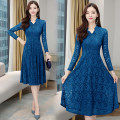 Dress Autumn 2020 Picture color M,L,XL,2XL,3XL,4XL Mid length dress singleton  Long sleeves commute V-neck High waist Solid color zipper Big swing routine Others 30-34 years old Type A Korean version Zippers, lace, buttons 51% (inclusive) - 70% (inclusive) Lace polyester fiber