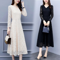 Dress Autumn of 2018 Apricot, black M,L,XL,2XL,3XL,4XL,5XL Mid length dress singleton  Long sleeves commute V-neck High waist Solid color Socket Big swing routine Others 25-29 years old Type A Other / other Korean version Cut out, zipper, lace 51% (inclusive) - 70% (inclusive) Lace