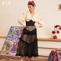 skirt Spring 2021 S,M,L black longuette Retro High waist A-line skirt Dot Type A 18-24 years old S21CKBO35 More than 95% Two or three things polyester fiber Fungus, lace up