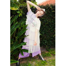 Dress Summer of 2018 Purple, dark grey Average size longuette Fake two pieces Short sleeve street Crew neck middle-waisted Decor Socket other other Others 18-24 years old Type H Two or three things Stitching, printing S18XLY049 More than 95% other other Europe and America