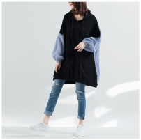 Women's large Autumn 2020 black Large XL, large L T-shirt singleton  commute easy moderate Socket Long sleeves literature Hood Medium length cotton other 25-29 years old 51% (inclusive) - 70% (inclusive)