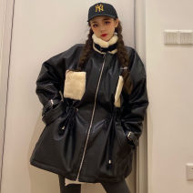 leather clothing Other / other Winter of 2019 Average size Beige coat, black coat Medium length Long sleeves easy commute High collar zipper routine 18-24 years old