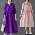 Dress Summer 2020 Purple, pink S,M,L,XL longuette singleton  three quarter sleeve commute V-neck Loose waist Solid color Socket Big swing routine Others Type A literature 81% (inclusive) - 90% (inclusive) other cotton