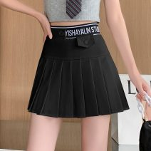 skirt Spring 2021 S,M,L,XL,2XL White, black, premium grey Short skirt commute High waist Pleated skirt Solid color Type A 18-24 years old 81% (inclusive) - 90% (inclusive) brocade polyester fiber fold Korean version 201g / m ^ 2 (including) - 250G / m ^ 2 (including)