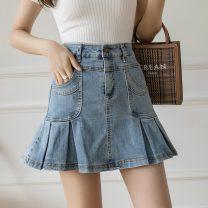 skirt Summer 2021 S,M,L,XL,2XL Light blue, black Short skirt Versatile High waist Pleated skirt Type A 18-24 years old 81% (inclusive) - 90% (inclusive) Denim polyester fiber 201g / m ^ 2 (including) - 250G / m ^ 2 (including)