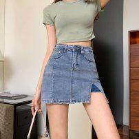 skirt Summer 2021 S,M,L,XL Short skirt Versatile High waist Denim skirt Solid color Type A 25-29 years old 81% (inclusive) - 90% (inclusive) Denim polyester fiber 201g / m ^ 2 (including) - 250G / m ^ 2 (including)