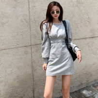 Dress Autumn 2020 grey S, M Short skirt singleton  Long sleeves commute Crew neck High waist Solid color Socket other routine Others Type A Korean version zipper .