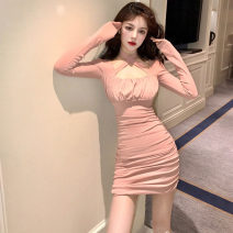 Dress Winter 2020 Black, pink S,M,L Short skirt singleton  Long sleeves commute square neck High waist Solid color Socket routine Type H .