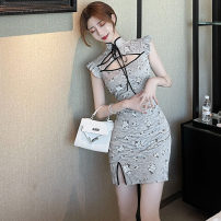 Dress Summer 2021 Gray blue S,M,L Short skirt singleton  Broken flowers zipper Others Type H Frenulum . other