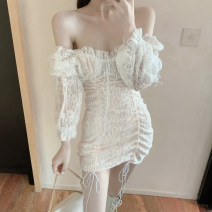 Dress Spring 2020 White, black S, M Short skirt singleton  Long sleeves commute One word collar middle-waisted Solid color zipper Pencil skirt puff sleeve Breast wrapping 18-24 years old Type H Other / other Korean version Lace .