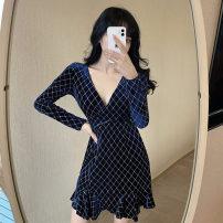 Dress Spring 2021 Khaki, blue S,M,L Short skirt singleton  Long sleeves commute V-neck High waist lattice zipper other routine 18-24 years old Type A Korean version