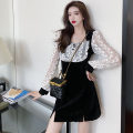 Dress Spring 2021 black S,M,L,XL Short skirt singleton  Long sleeves commute square neck zipper puff sleeve Others Type A Korean version Stitching, lace .