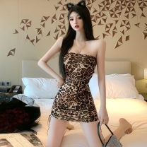 Dress Spring 2021 Leopard Print Average size Short skirt singleton  Sleeveless High waist Socket Breast wrapping Type H Frenulum . 51% (inclusive) - 70% (inclusive)