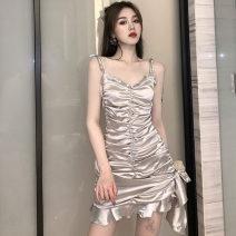 Dress Summer 2020 silvery S, M Short skirt singleton  Sleeveless commute V-neck High waist Solid color zipper Ruffle Skirt camisole Type A Korean version Lotus leaf edge