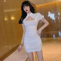 Dress Spring 2021 Pure white, all black, black with white edge S,M,L,XL Short skirt singleton  Short sleeve commute middle-waisted Solid color Socket routine Others Type H Retro . 31% (inclusive) - 50% (inclusive) other polyester fiber