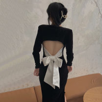 Dress Autumn 2020 black S, M Mid length dress singleton  Long sleeves commute square neck Solid color Socket routine Type A Korean version Bow tie, hollow out, open back . 31% (inclusive) - 50% (inclusive)