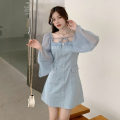 Dress Autumn 2020 White, blue S, M Short skirt singleton  Long sleeves commute square neck High waist Solid color A-line skirt pagoda sleeve Others Type A Korean version Frenulum . 71% (inclusive) - 80% (inclusive)