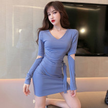 Dress Autumn of 2019 Black, haze blue S,M,L Short skirt singleton  Long sleeves commute V-neck High waist Solid color Socket Pencil skirt other Others 18-24 years old Type H Other / other Korean version Frenulum . 31% (inclusive) - 50% (inclusive)