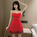 Dress Spring 2021 White, red, black S,M,L Short skirt singleton  Sleeveless Sweet One word collar High waist Solid color Socket Princess Dress Breast wrapping Type A bow .