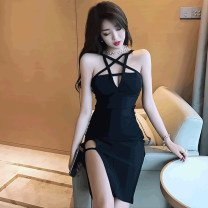 Dress Summer of 2019 black S,M,L,XL Short skirt singleton  Sleeveless commute High waist Solid color zipper Pencil skirt camisole 18-24 years old Type H Korean version Open back, hollow out . 31% (inclusive) - 50% (inclusive) cotton