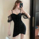 Dress Summer 2021 black S,M,L Short skirt singleton  Short sleeve commute One word collar High waist Solid color Socket puff sleeve camisole Type H Korean version . polyester fiber
