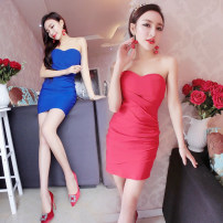 Dress Summer of 2018 White, red, blue, black S,M,L Short skirt singleton  Sleeveless commute High waist Solid color Socket One pace skirt Breast wrapping 18-24 years old Type H Korean version fold brocade