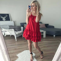 Dress Summer of 2018 White red S M L Middle-skirt singleton  Sleeveless One word collar camisole Type A other sixty-six thousand seven hundred and eighty-eight