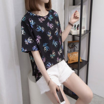 Women's large Summer 2021 White, black L [recommended 90-120 Jin], XL [120-140 Jin], 2XL [140-160 Jin recommended], 3XL [160-180 Jin recommended], 4XL [180-200 Jin recommended] T-shirt singleton  commute Straight cylinder moderate Socket Short sleeve routine Three dimensional cutting routine