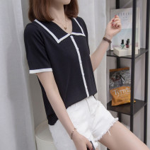 Women's large Summer 2021 White, black L [about 90-120 kg recommended], XL [about 120-140 kg recommended], 2XL [about 140-160 kg recommended], 3XL [about 160-180 kg recommended], 4XL [about 180-200 kg recommended] T-shirt singleton  commute easy moderate Socket Short sleeve Polo collar routine Z448