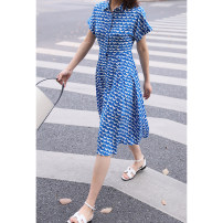 Dress Summer 2021 S,M,L Mid length dress singleton  Short sleeve Polo collar Single breasted routine Others Type X Magpie past More than 95% Crepe de Chine silk