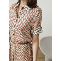 Dress Spring 2021 Light Decor / belt M,L,XL,2XL Mid length dress singleton  Short sleeve commute other Single breasted routine Type X Magpie past LYQ3795-0403-HH-XF 81% (inclusive) - 90% (inclusive) silk