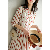 Dress Summer 2021 Red and white fringes S,M,L,XL Mid length dress singleton  elbow sleeve commute tailored collar High waist Socket routine Type X Magpie past Simplicity LYQ2789-0410-TT More than 95% polyester fiber