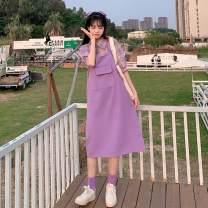 Fashion suit Summer 2021 S,M,L,XL Plaid shirt + Purple suspender skirt, single plaid shirt, single purple suspender skirt 18-25 years old 71% (inclusive) - 80% (inclusive)