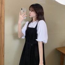 Dress Summer 2021 S,M,L,XL Mid length dress Two piece set Short sleeve commute Crew neck High waist Solid color Socket A-line skirt routine straps 18-24 years old Type A Korean version More than 95% other other