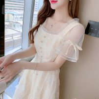 Dress Summer 2021 Apricot S,M,L,XL Mid length dress singleton  Short sleeve commute square neck High waist Solid color Socket A-line skirt Lotus leaf sleeve Others 25-29 years old Type A Korean version 91% (inclusive) - 95% (inclusive) Chiffon other