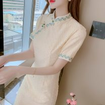 Dress Summer 2021 Apricot S,M,L,XL Mid length dress singleton  Short sleeve commute stand collar High waist Solid color Socket A-line skirt routine Others 25-29 years old Type A Korean version 71% (inclusive) - 80% (inclusive) other