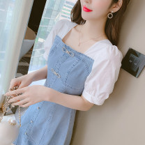 Dress Summer 2021 Denim blue S,M,L,XL Mid length dress singleton  Short sleeve commute square neck High waist Solid color Socket A-line skirt puff sleeve Others 25-29 years old Type A Korean version Ruffles, bows, folds, stitching, three-dimensional decoration More than 95% Denim