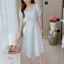 Dress Summer 2021 Apricot, light blue S,M,L,XL Mid length dress singleton  Short sleeve commute square neck High waist Solid color Socket A-line skirt puff sleeve Others 25-29 years old Type A Korean version Embroidery, folding, splicing, three-dimensional decoration, nail bead, zipper, lace Chiffon