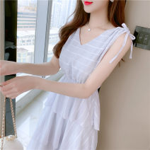 Dress Summer 2021 White, blue S,M,L,XL Mid length dress singleton  Sleeveless commute V-neck High waist Solid color Socket Cake skirt other Others 25-29 years old Type A Korean version Pleating, pleating, lace up, three-dimensional decoration, bandage More than 95% Chiffon