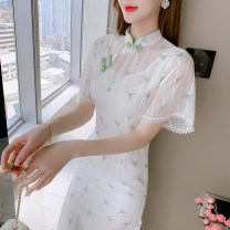 Dress Summer 2021 Picture color S,M,L,XL Mid length dress singleton  Short sleeve commute stand collar High waist Decor Socket A-line skirt Lotus leaf sleeve Others 25-29 years old Type A Korean version Three dimensional decoration, folds, stitching, beads, buttons, zippers, lace, printing other
