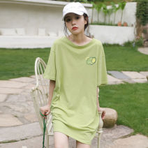 T-shirt green Average size Summer 2020 Short sleeve Crew neck easy Medium length routine street cotton 96% and above Plants and flowers printing Sports & Leisure