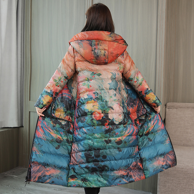 Down Jackets Autumn of 2018 Other / other Orange flower Loulan black flower Beige flower coffee S M L XL 2XL 3XL 4XL White duck down 80% Medium length Long sleeves routine zipper Hood commute routine Self cultivation Decor one thousand eight hundred and fifty-eight 150g (including) - 200g (excluding)