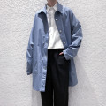 Windbreaker Black, haze blue Others Youth fashion S,M,L,XL Single breasted Medium length easy Other leisure autumn youth Lapel tide Solid color No iron treatment