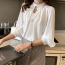 shirt White Pearl White S,M,L,XL,2XL Spring 2021 polyester fiber 96% and above Long sleeves commute Regular other Socket routine Solid color 18-24 years old Straight cylinder Korean version ET Button