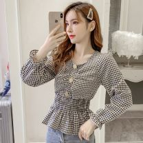 shirt Black, purple S,M,L,XL Spring 2021 other 96% and above Long sleeves commute Regular Socket routine lattice 18-24 years old Self cultivation Korean version cH Chiffon