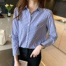 shirt Picture color S,M,L,XL,2XL Spring 2021 other 96% and above Long sleeves commute Regular stand collar Single row multi button routine stripe 18-24 years old Straight cylinder Korean version Et