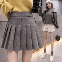 skirt Spring 2021 S,M,L,XL,2XL Black, light grey, dark grey, apricot Short skirt commute High waist Pleated skirt Solid color Type A 18-24 years old ☼ 51% (inclusive) - 70% (inclusive) Wool other Korean version