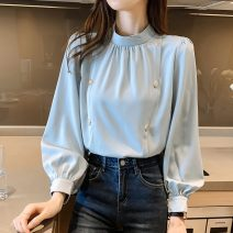Lace / Chiffon Spring 2021 White, blue S,M,L,XL,2XL Long sleeves commute Socket singleton  easy Regular stand collar Solid color other 18-24 years old Korean version 71% (inclusive) - 80% (inclusive)