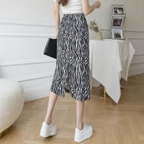 skirt Summer 2021 S,M,L,XL Front split, rear split Mid length dress commute High waist skirt Zebra pattern Type H 18-24 years old Zebra skirt More than 95% other Chloroprene Korean version